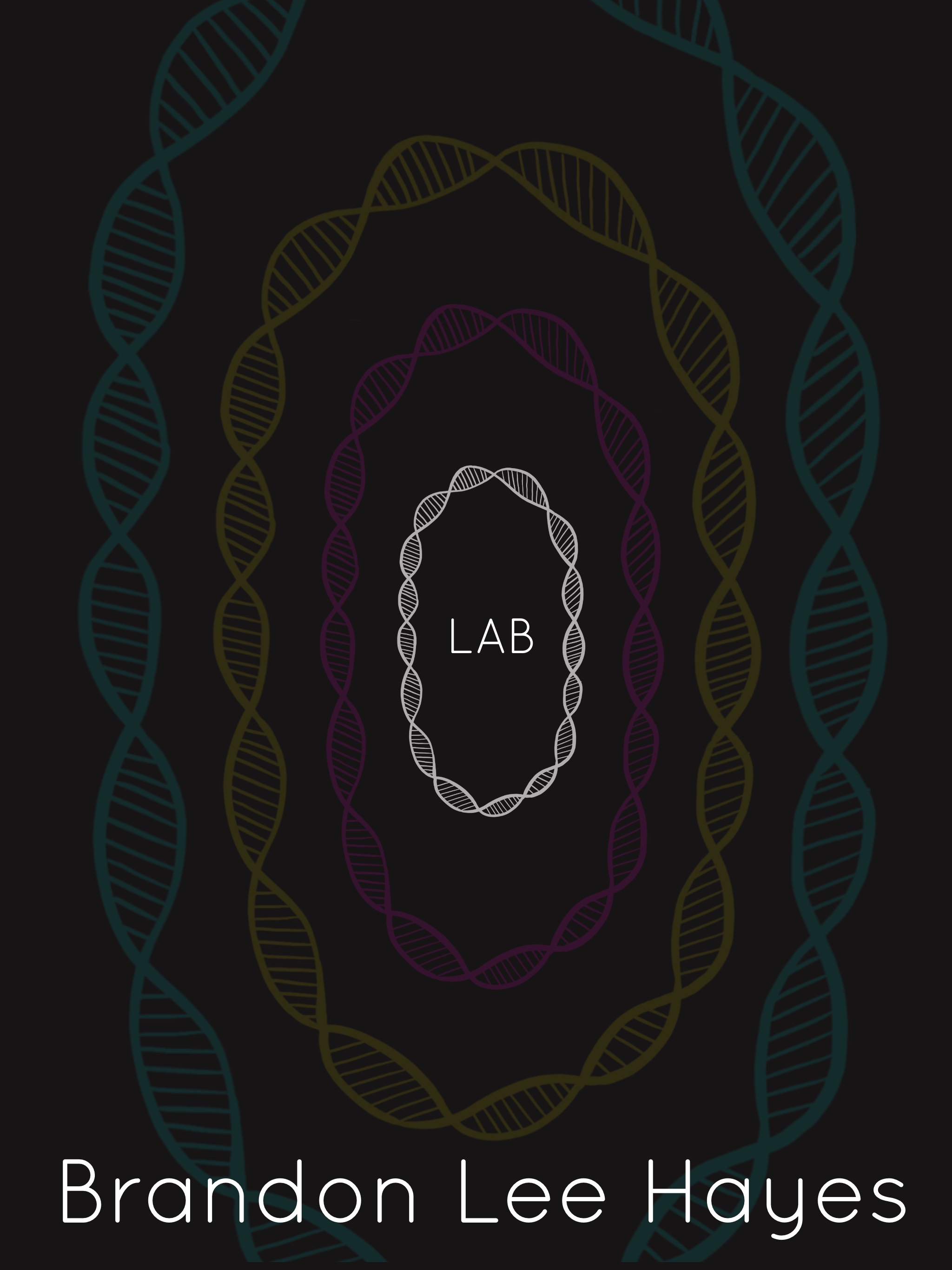 "Cover image for the short story lab zero. DNA structures spiraling around the word ""LAB"" making zeros."